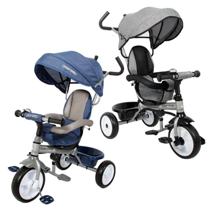 Easy-Steer Tricycle Canopy Buggy With Kids' Pedals - Grey or Blue