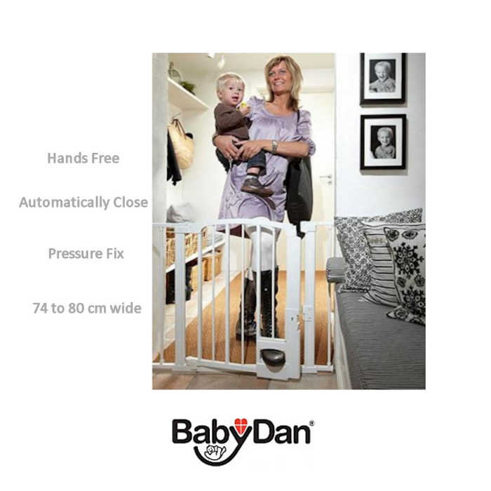 Babydan Hands Free Auto Close Safety Gate - White