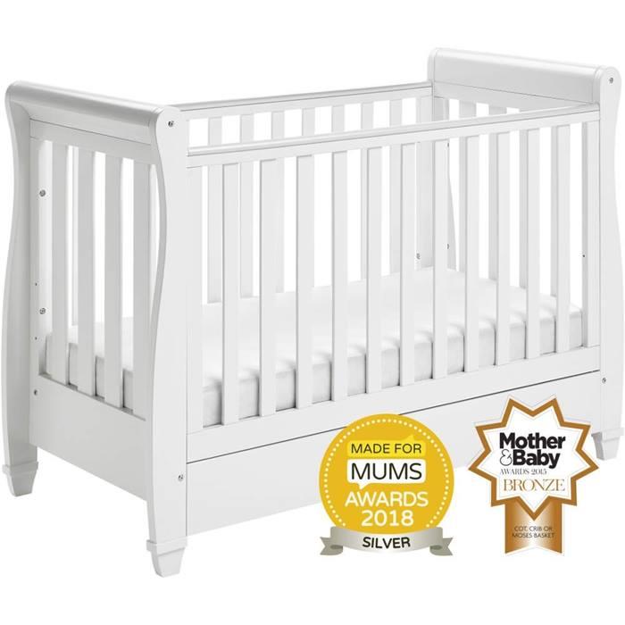 Babymore Eva Sleigh Cot Bed (White)