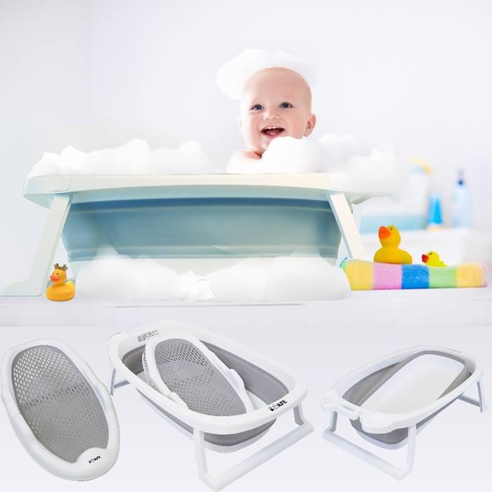 iSafe Flat Foldable Baby Bath & Cradle Bundle (Grey)