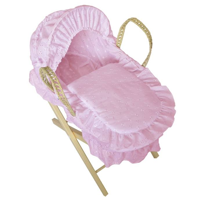 Cuddles Dolls Broderie Anglais Moses Basket with Stand