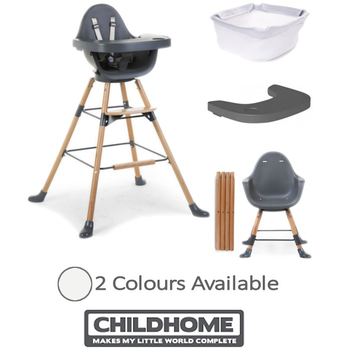 Childhome Evolu ONE.80 3in1 Rotating Highchair with Tray And Bumper Bundle