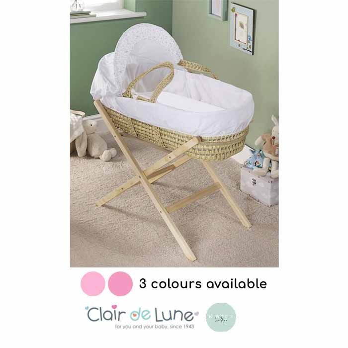 Clair De Lune Kindervalley Palm Moses Basket with Folding Stand
