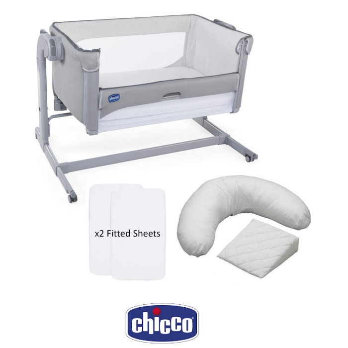 Chicco Next 2 me Magic Bedside Crib, Sheets & Pillow Pack Bundle - Cool Grey