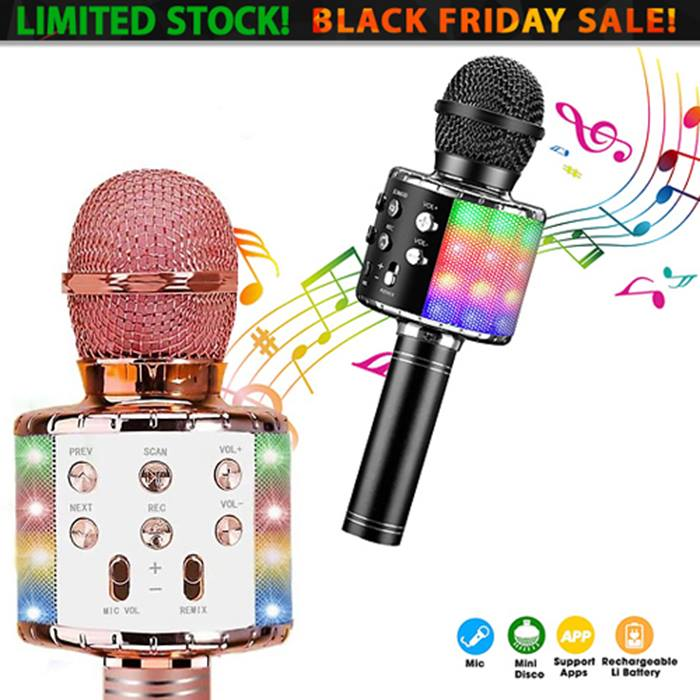 4-in-1 Wireless LED Karaoke Microphone & Speaker - 2 Colours