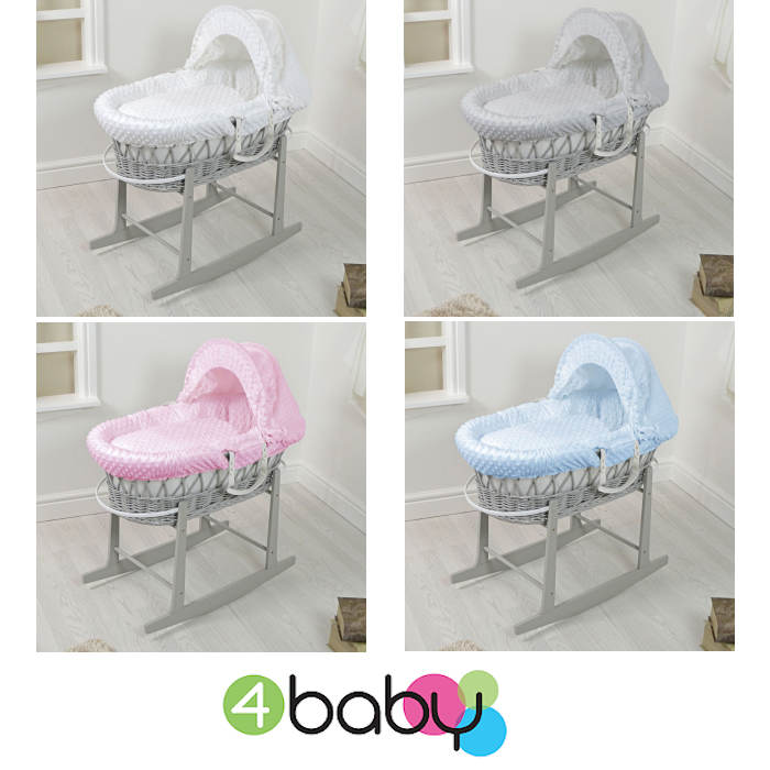 4Baby Padded Grey Wicker Moses Basket & Rocking Stand
