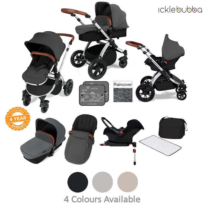 Ickle bubba Stomp V3 Black All In One Travel System  Isofix Base